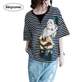 Kingsnower Women T-shirt Big Nose Dwarf Printing Loose Striped Short Sleeve T Shirts Large Size Cute Harajuku Tops Tee JA2041