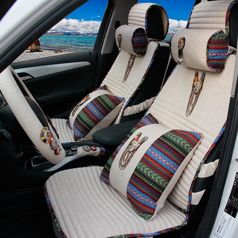 MMBear 10pcs Luxury Linen Universal Car Seat Covers Women