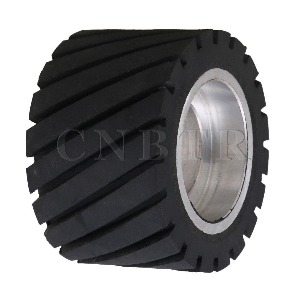 CNBTR 8x5cm Aluminum Core Belt Grinder Rubber Wheel for Bearings Belt Grinder 100 100mm grooved rubber wheel belt grinder part
