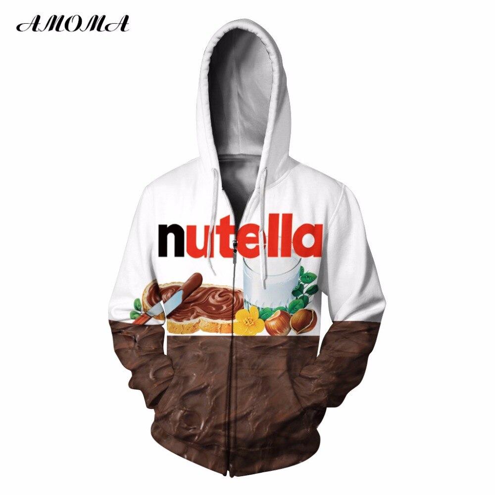 AMOMA Unisex Realistic 3d Digital Print Pullover Zip Hoodie Sweatshirt Nutella