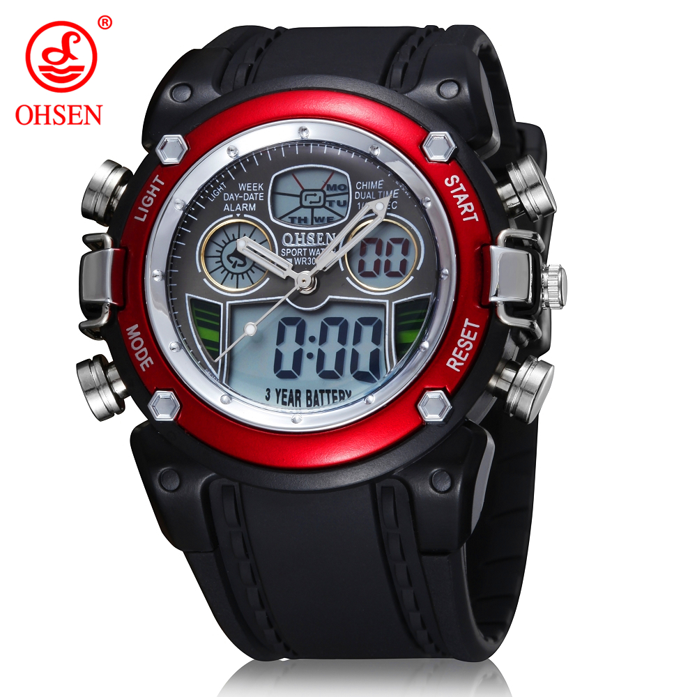 OHSEN Brand Watches Men Waterproof Fashion Sports Casual Watch Man Men's Wristwatches 2 Time Zone Digital Quartz LED Clock Men