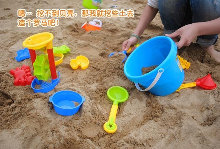 13Pcs high quality Beach Toys Bucket Rakes Sand Wheel Watering ...