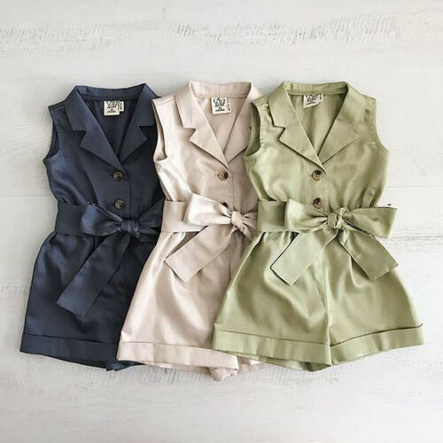 New Fashion Kids Baby Girls Cotton Sleeveless Clothes Bow-tie Waist   Romper   Jumpsuit Outfits Sunsuits 3G02