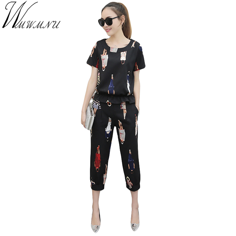 Wmwmnu Summer Short Sleeve Suits Women Casual Tracksuit Cartoon Characters Print Linen Two Piece Set Plus Size Lady Suits Ls260