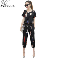 Wmwmnu 2017 Summer Short Sleeve Suits Women Casual Tracksuit Cartoon Characters Print Linen Two Piece Plus