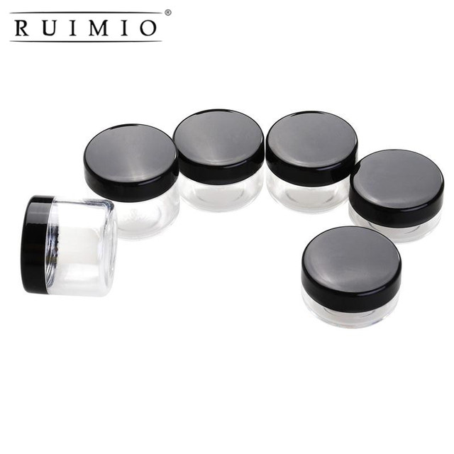 c1f43f4ba958 US $3.39 |RUIMIO 6pcs Empty Clear Refillable battle jar with Black Lid  Plastic Sample Containers 10/15/20ml Size Cosmetic Containers Pot-in  Refillable ...