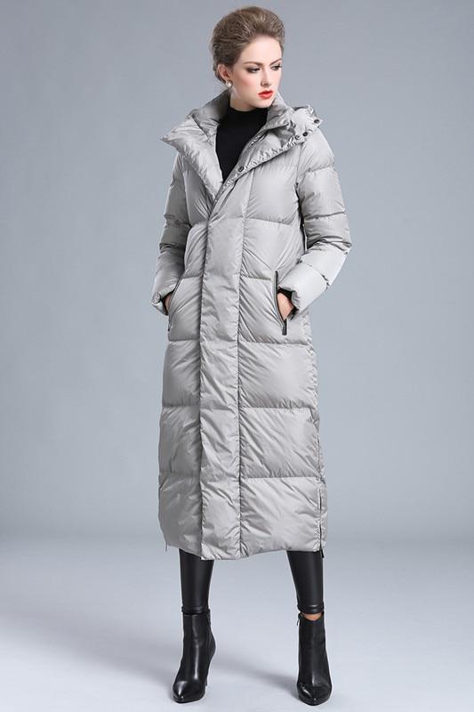 Vers Femmes Longue Étendu Mode Du Sur 2018new Genou Bas D'hiver Noir De Grande La Section Le Vêtements argent Veste Manteau L'argent Taille tAwqzFw