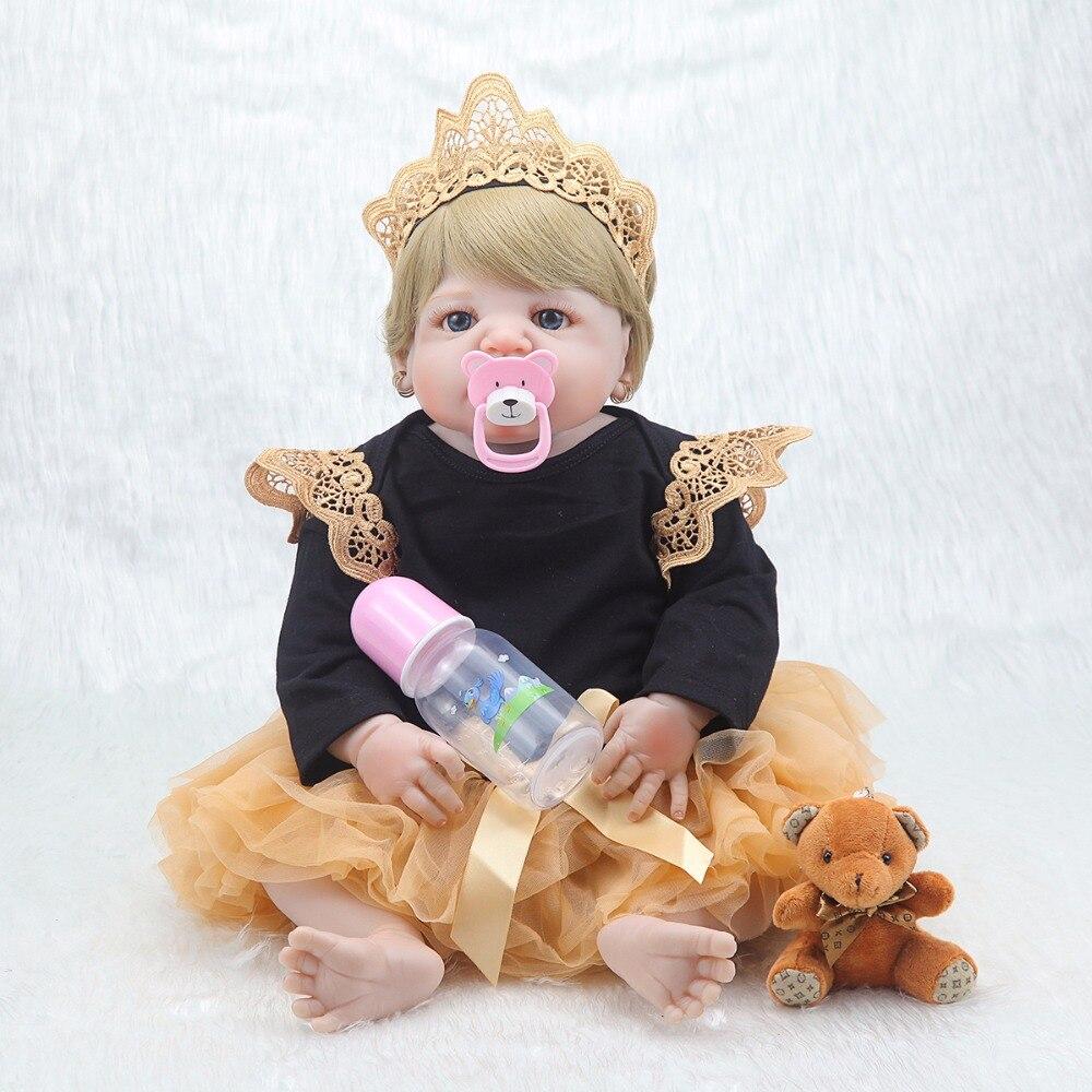 새로운 55 cm 연약한 몸 실리콘 reborn 아기 인형 소녀를위한 신생아 아기 생일 선물 아이 취침 시간 bebe 장난감 bonecas reborn-에서인형부터 완구 & 취미 의  그룹 2