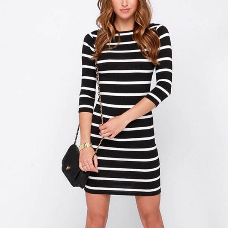 b97ffa8fdae Everyday Dresses Autumn Women Sexy Slimming Wrap Lady Fashion Clothing  Casual Striped Bodycon Party Dress Vestidos-in Dresses from Women s  Clothing on ...