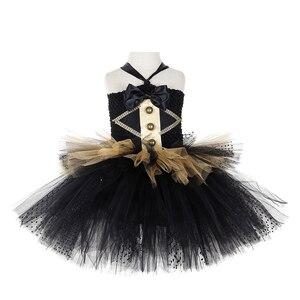 Image 5 - Черно Золотое Платье пачка в стиле цирковых колец, Детские великолепные костюмы Showman для девочек, платье для Хэллоуина, карнавала, дня рождения