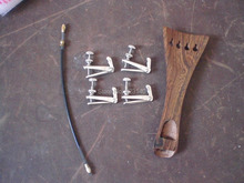 1 PC Wenge wood Tail piece with 4 PCs Silver color Fine tuner & tail gut all 4/4