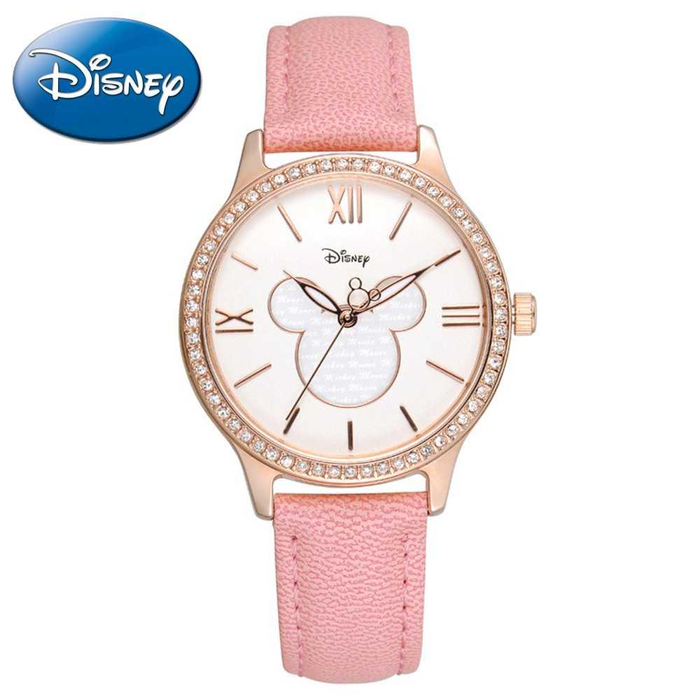 Women Hot Luxury Bling Crystal Stone Mickey Mouse Cutie Leather Quartz Watch Pretty Girl Round Fashion Charming Disney Top Clock
