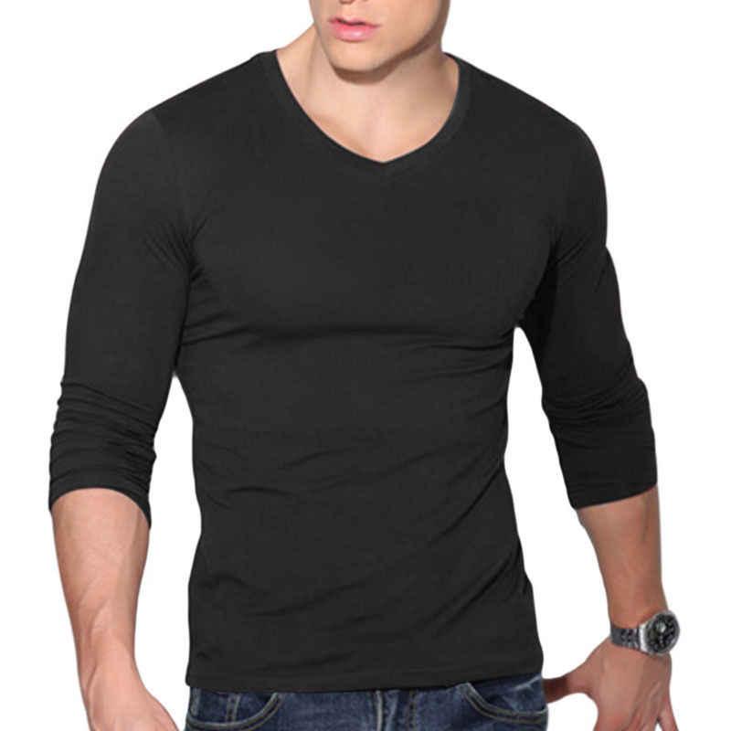 ITFABS Chegadas Mais Nova Moda dos homens Quentes Sexy Camisa de Manga Longa Com Decote Em V Slim Fit Casual T-shirt T Top Preto Vermelho branco Cores