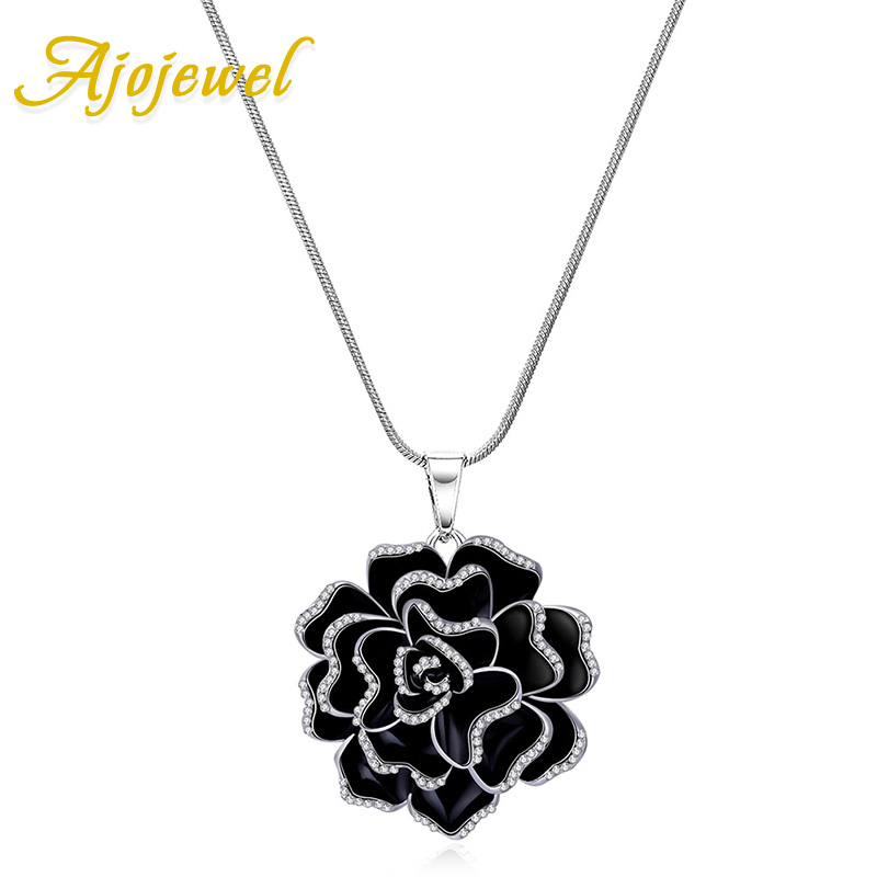 Ajojewel Platinum Plated Black Enamel Flower Women Vintage Jewelry Necklace Pendant 2016 Accessories Gift