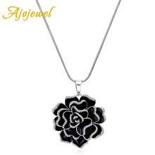 Ajojewel Platino Plateado Negro Esmalte Flor Mujeres Collar y Colgante de Joyería de La Vendimia 2016 Accesorios de Regalo