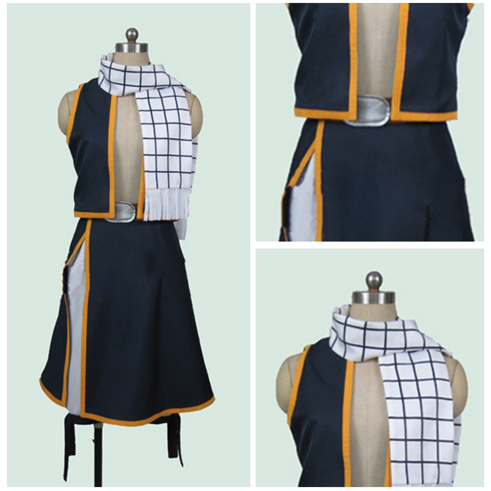 Free Shipping Fairy Tail Natsu Dragneel Cosplay Costume Custom Made Any Size Outfit Clothing For Adult Men