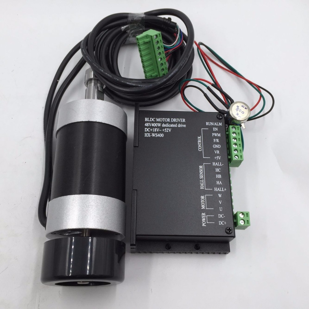New ER11 48V 400W Brushless Spindle Motor+Drive Kits High Speed with DC Motor+Drive Spindle Controller CNC DIY Milling Machine dc110v 500w er11 high speed brush with air cooling spindle motor with power fixed diy engraving machine spindle