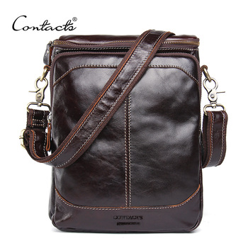 CONTACT'S HOT!! 2019 Genuine Leather Bags Men High Quality Messenger Bags Small Travel Dark Brown Crossbody Shoulder Bag For Men