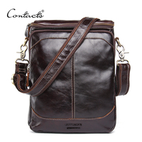 CONTACT'S HOT!! 2018 Genuine Leather Bags Men High Quality Messenger Bags Small Travel Dark Brown Crossbody Shoulder Bag For Men