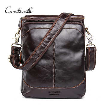 CONTACT'S HOT!! 2019 Genuine Leather Bags Men High Quality Messenger Bags Small Travel Dark Brown Crossbody Shoulder Bag For Men - DISCOUNT ITEM  45% OFF All Category