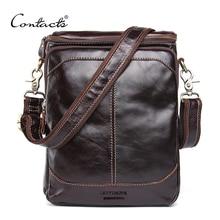 ¡CONTACTS HOT! Bolsos de cuero auténtico de mensajero de alta calidad para hombre, bolso de hombro tipo bandolera pequeño de viaje, color marrón oscuro, 2020