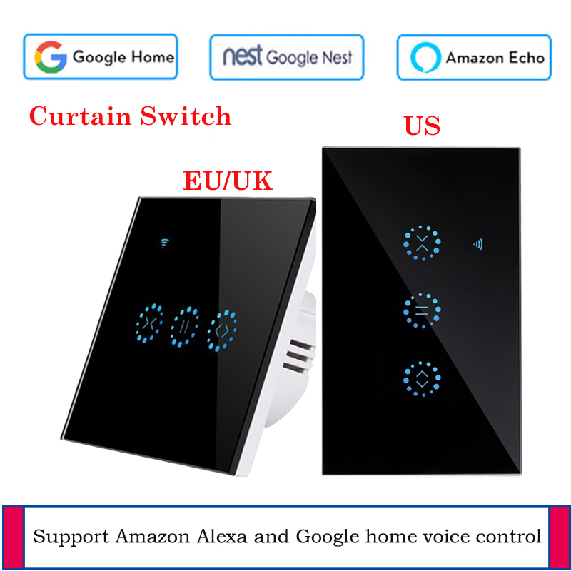 EU US Standard smart curtain motor Electrical Blinds WiFi Switch Touch APP Voice Control by Alexa Echo Google Home AC 110 V 220V in Switches from Lights Lighting