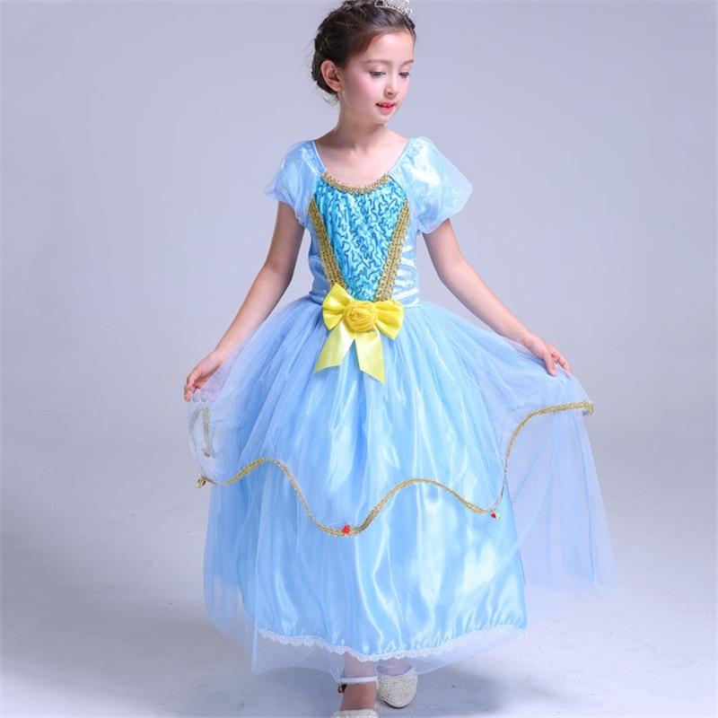 ABGMEDR Summer 2018 Girl Fantasy Elsa Dress Girls Queen Elsa Halloween Party Cosplay Costume Kids Long Dress Children Clothing halloween queen cosplay dress