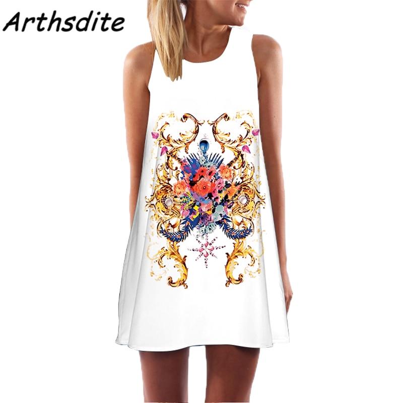 Arthsdite 2017 Bohemian Floral Print Dress Vintage Sexy Summer Beach Dress  Boho Sleeveless Mini Dress Plus Size Women Clothing-in Dresses from Women s  ... e67cf0343e18