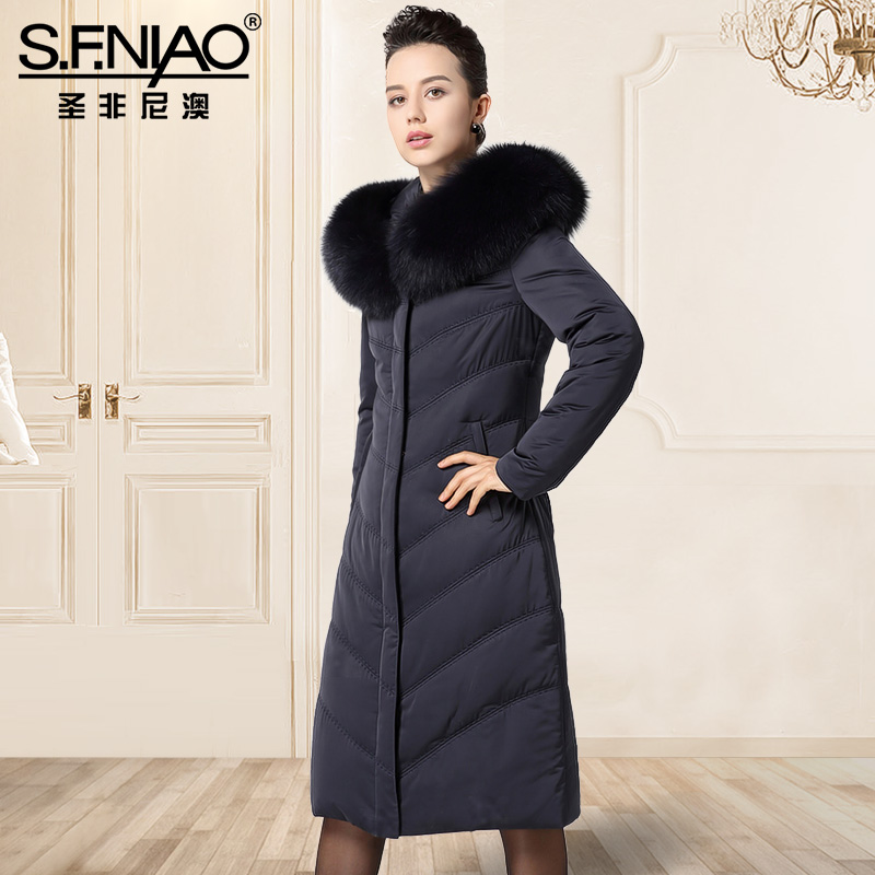 Winter New Fox Fur Collar Hooded Jacket, Long Sleeved Jacket Slim Trend Down Parka Women Coat With Hood