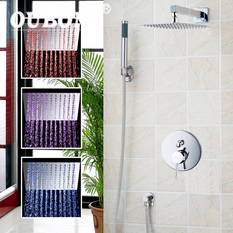 LED Luxury Chrome Rain Shower Head Arm Set Faucet Bathroom Wall Mounted  With the Head And Hand Sprayer Shower Set new european style wall mounted bathroom polished chrome rain shower faucet set
