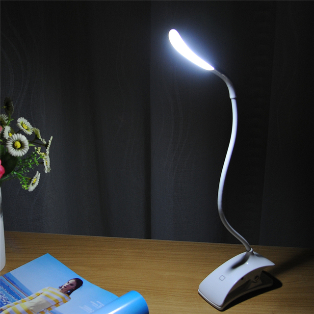 Portable LED Reading Table Light Fashion Design Touch Switch Adjustable Intensity USB Rechargeable Desk Table Lamp With Clip
