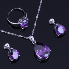 Terrific Water Drop Purple Cubic Zirconia 925 Sterling Silver Jewelry Sets For Women Earrings Pendant Chain Ring V0958