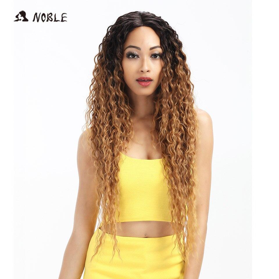 Благородный волос Синтетические волосы на кружеве ombre блондинка парик 30 дюймов длинные волнистые красный Искусственные парики для черный ж...