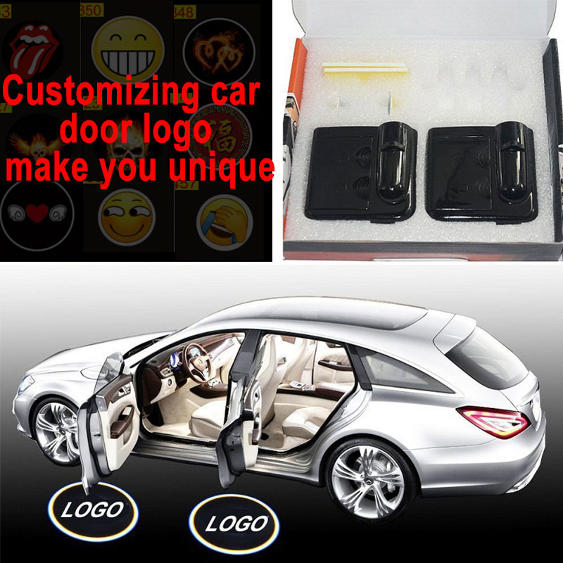 2pcs Car Light Led Lamp On Batteries Wireless Car Door Projector Lights Car Accessories Night Lamp Support Customized Logo Evident Effect