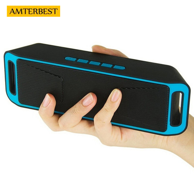 AMTERBEST Portable Wireless Bluetooth Speaker Stereo Subwoofer USB Speakers with Radio and TF FM Slot Dual Bass Sound Box Music