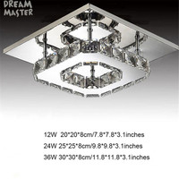 LED 36W Crystal Ceiling Lights Best Simple Brief Designs Fashion Lustre Lighting Silver Amber Crystals Luminarias