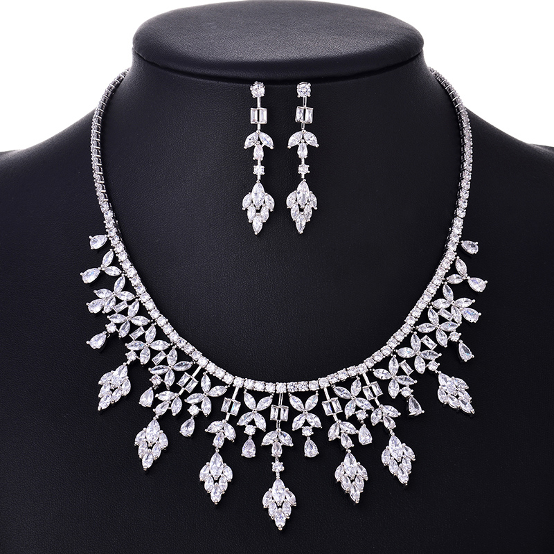 HIBRIDE Elegant Women Earring Necklace Rhodium Plated AAA Cubic Zircon Stone Wedding Jewelry Sets N 113