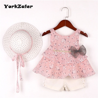 YorkZaler 3 PCS Set Summer Baby Girl Clothes Set Girls Clothing Set Sundress Sleeveless With Pearl