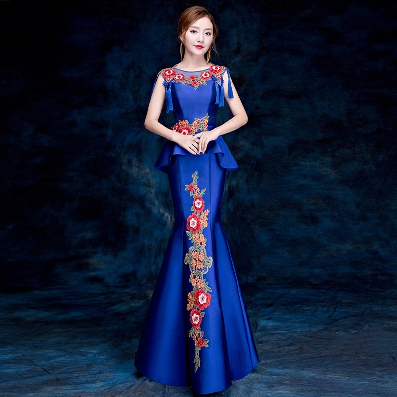 Luxury Cheongsam Embroidery Tassel Sexy Qipao Women Long Traditional Chinese Dresses Retro Dressing Gown Robe Orientale Blue