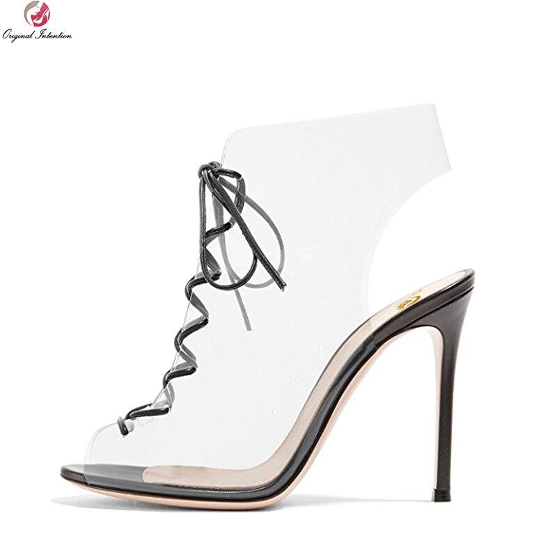 Original Intention New Sexy Women Sandals Open Toe Thin High Heels Sandals Fashion Transparent Shoes Woman Plus US Size 4-15