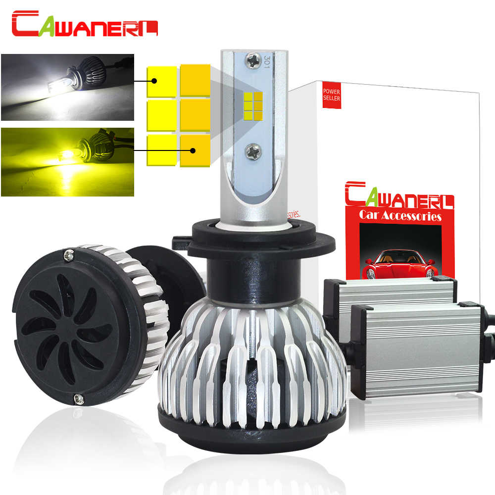 Cawanerl Dual Color LED Headlight Bulb 72W 7600LM /Set 3000K + 6000K In One H1 H4 H7 H8 H9 H11 9005 9006 Car Headlamp Fog Light