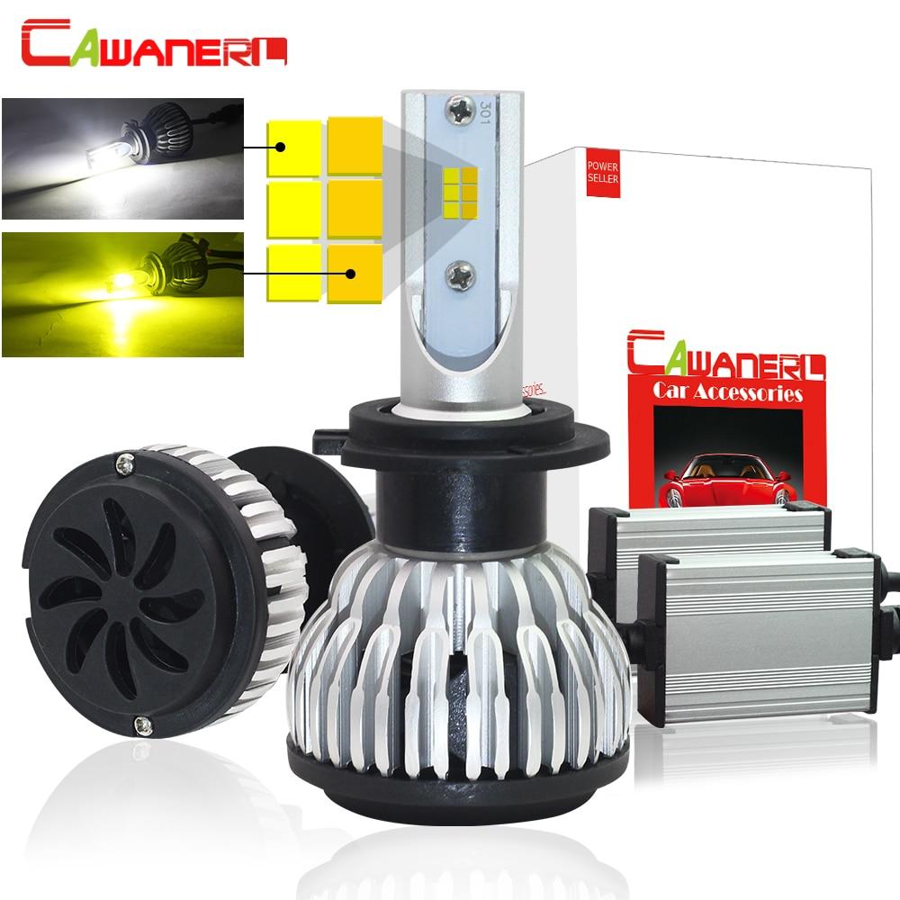цена на Cawanerl Dual Color LED Headlight Bulb 72W 7600LM /Set 3000K + 6000K In One H1 H4 H7 H8 H9 H11 9005 9006 Car Headlamp Fog Light