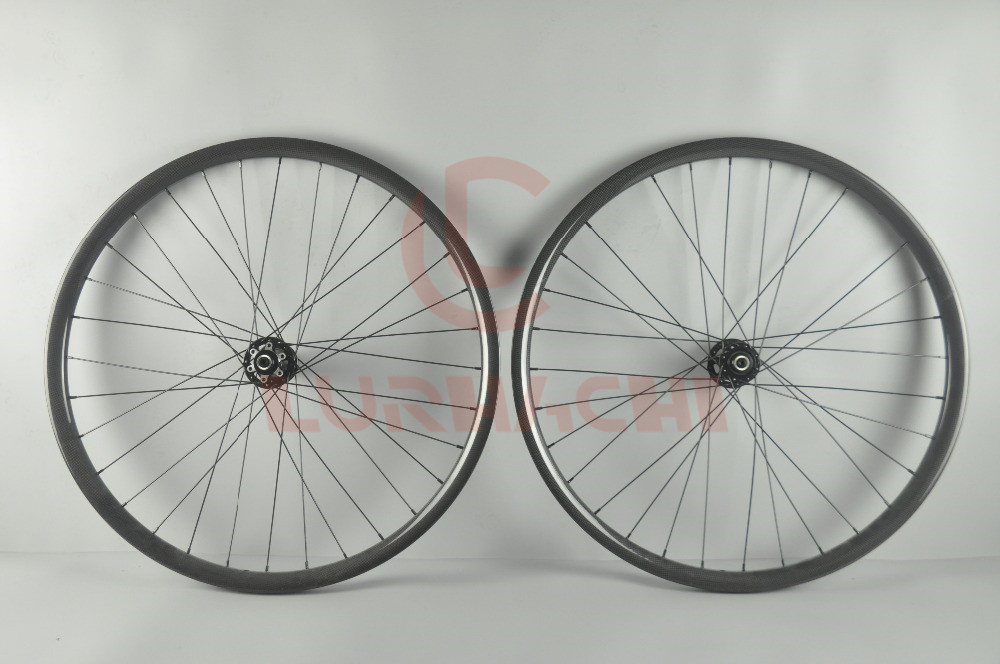 LURHACHI 26er MTB XC Carbon Wheelset 3K/UD Glossy 36mm Width 25mm Depth Hookless 28/28H D711/D712SB 26 Inch Bicycle Wheels