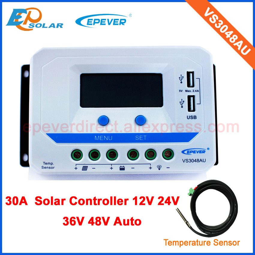EPsolar PWM VS3048AU 30A 30amp lcd displlay solar battery charger controller+temperature sensor epsolar lcd display 30a 30amp pwm vs3048au solar controller regulator with temperature sensor