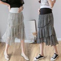 Летняя новая юбка для беременных женщин Корейская версия поддержки желудка шифоновая юбка с цветочным принтом корейская мода юбка для бере...