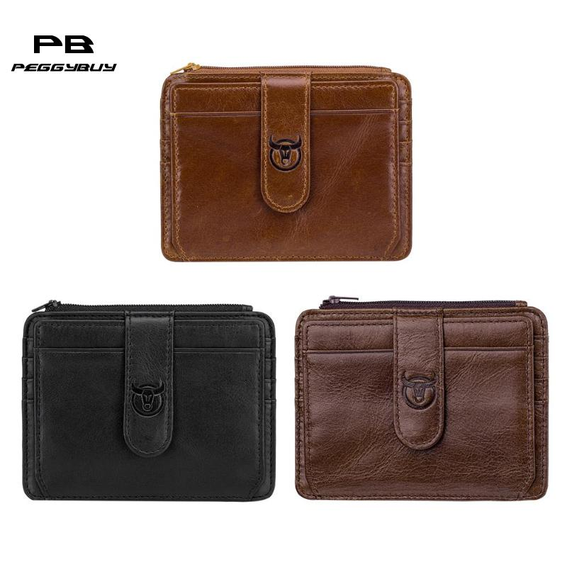 BULL CAPTAIN Men RFID Soft Clutch Leather Coin Purse Card Holder Wallet