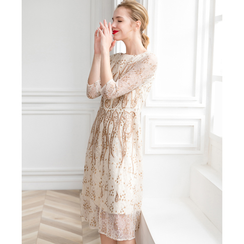 d6776bf37da Robes En Trimestre D été Broderie Fashionnova Femmes Pour Beige Trois  Imprimer Maille Omighty Midi Vêtements Parti ...