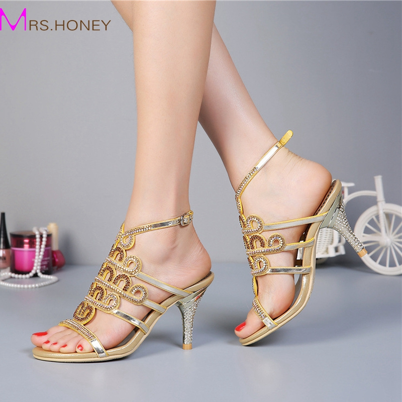 Summer Lady Sandals Stiletto Heel Rhinestone High Heels Fashion Sandals Crystal Wedding Shoes Homecoming Party Pumps Gold Purple