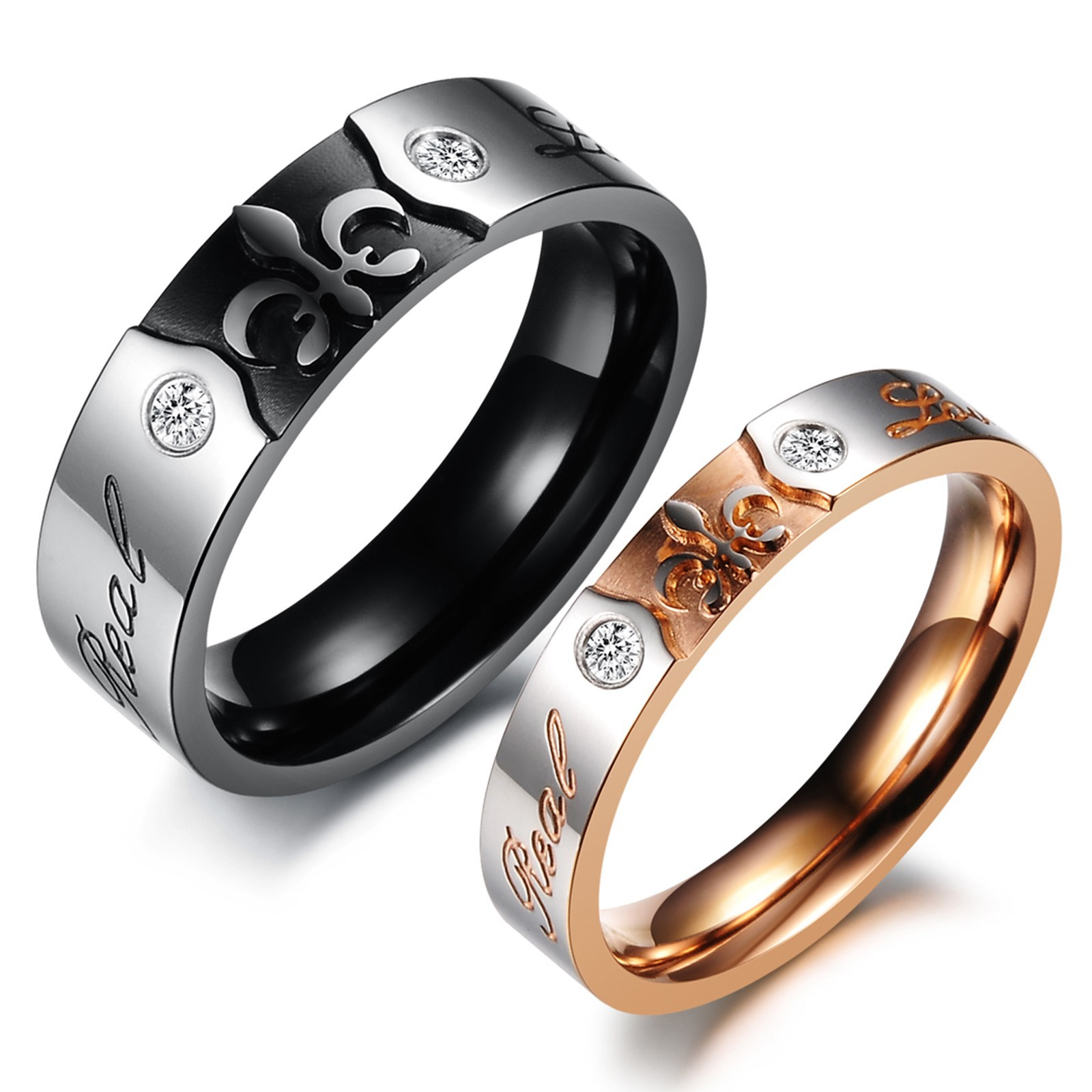 2 Pieces 316L Stainless Steel Jewelry Couple Ring Set Gold Color