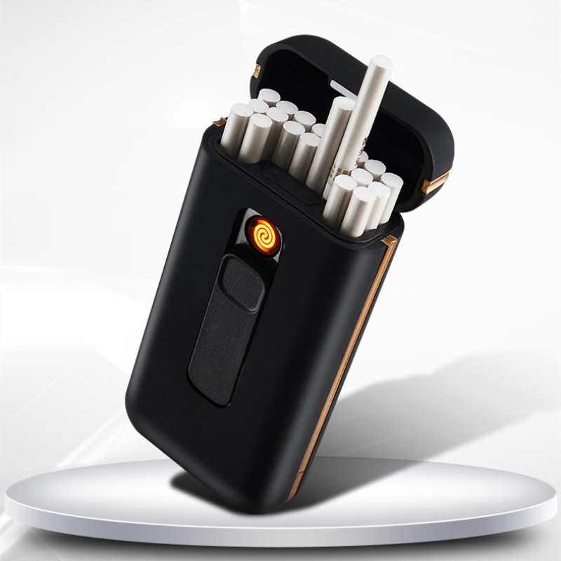 Metal Cigarette Case With Lighter 20pcs Capacity Cigarette Holder Waterproof Cigarette Box For Slim Cigarette Electric Lighter